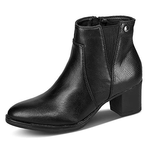 Claudia Ghizzani 2.CC1501 Damen Stiefelette Uni Blockabsatz Lederimitat Schuhe, Groesse 38, schwarz