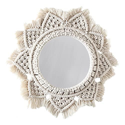 Espejo de macramé, tapiz hecho a mano, espejo de maquillaje, tapiz compacto, espejos de porche para el hogar, maquillaje para el hogar, baño