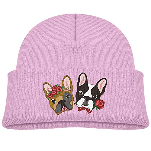 Hhill Swater Cute Couple French Bulldog Infant Beanie Hat Soft Skull Cap Warm Hat Pink