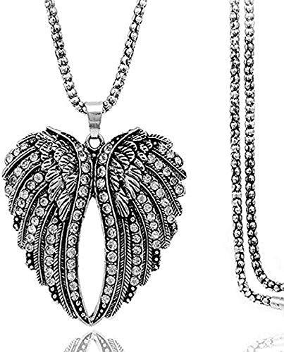 Collana Donna S Lega Vintage Diamond Cross Border Peach Heart Wing Collana con accessori Catena lunga maglione Donna