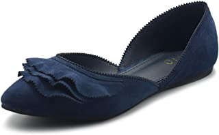 Women's Shoes Faux Suede Slip On Scallped Collar Pointed Toe Ballet Flats