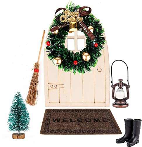 LYTIVAGEN 7 Stück Miniatur Wichtel Set Weihnachten Puppenhaus Zubehör Miniatur Wichtel Set Miniatur Puppenhausmöbel Mini Haus Ornament für Weihnachten Wichtel