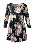 LARACE Floral Print Tunic Tops for Women 3/4 Sleeve Loose Fit Flare T-Shirt(5X, A-Black05)