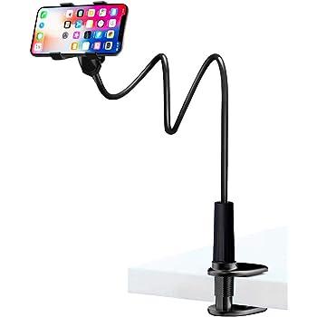 SEMU スマホアームスタンド スマホ スタンド クリップ式 寝ながらベット スマホ ホルダー 【最新改良版】 携帯ホルダー アーム フレキシブルアーム 360度角度調整 高さ90cm調節 土台強化 ベッド寝ながら用 3.5~6.3インチ ipad/iPhone/Android対応