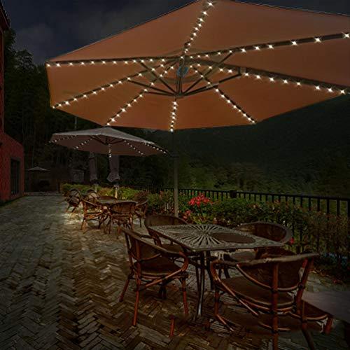 LEDMOMO Luz de la cadena del paraguas Luces de parasol impermeables 104 luces LED 8 cuerdas 13 luces LED (blanco cálido)