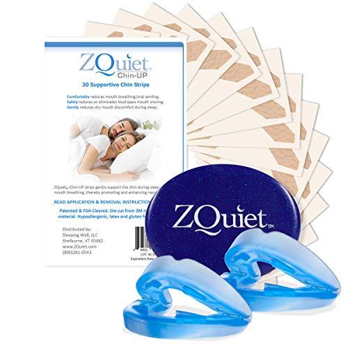 ZQUIETAnti-SnoringMouthpieceSolution, 2-Size Comfort SystemStarterKit+Chin-UPStrips(30ct/30 Day Supply)-Made in USA & FDA Cleared,SleepAidDevice,GentleTapefor BetterNoseBreathing