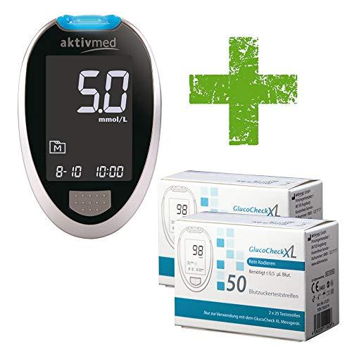GlucoCheck XL Blutzuckermessgeräte-Set (mmol/l) mit 110 Blutzuckerteststreifen