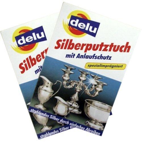delu argento panno per la pulizia con protezione antiossidante, confezione doppia (2 x 1 argento panno per la pulizia)