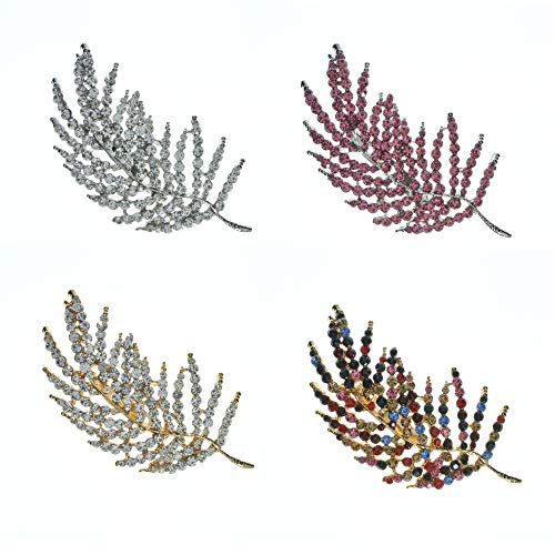 Large Diamante Feather Brooch Pin Women's Fashion Jewellery Love Bridal Wedding Pin (Gold)