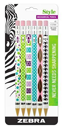 Zebra Style #2 Mechanical Pencil, 0.7mm Point Size, Assorted Barrel Patterns, 6-Count