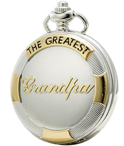 SEWOR reloj para el regalo familiar reloj de bolsillo de cuarzo esfera japonesa con doble cadena (Metal y cuero) (Abuelo Blanco)