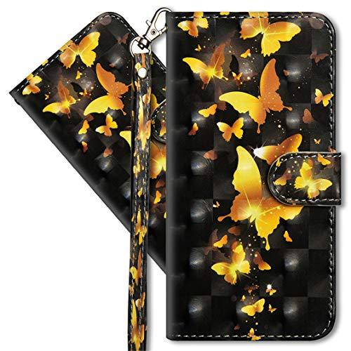 MRSTER Oppo Find X2 Neo Handytasche, Leder Schutzhülle Brieftasche Hülle Flip Hülle 3D Muster Cover mit Kartenfach Magnet Tasche Handyhüllen für Oppo Find X2 Neo 5G. YX Golden Butterfly