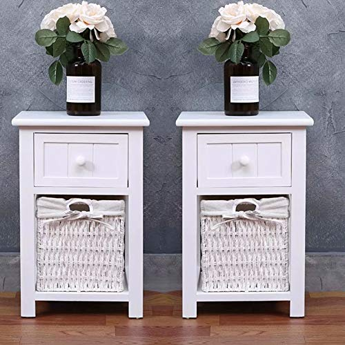 Youyijia Bedside Table 27.5X31X45CM Drawers Cabinet Night Stand with Wicker Storage Basket For Bedroom Children'S Bedroom White(2PCS)