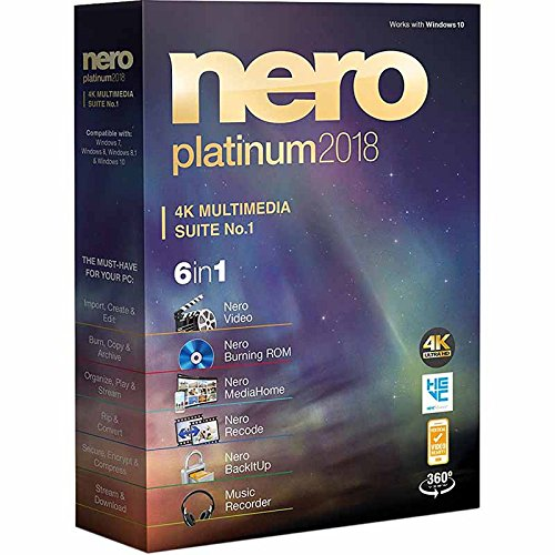 Price comparison product image Nero Platinum 2018 4K Multimedia Suite 6 in 1 support 360 View,  HEVC