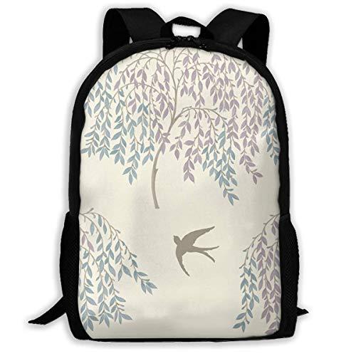NA Rucksack für Mädchen und Jungen, Willow Tree Leaf Vogel, Reißverschluss, Schulbuchtasche, Tagesrucksack, Reiserucksack, Turnbeutel für Männer und Frauen