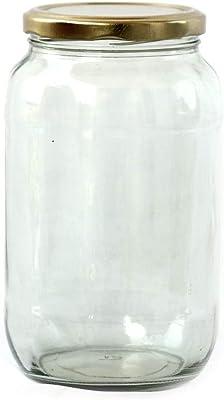 Brahmz® 1000ML Airtight Transparent Glass Jars & Container with Golden Metal Cap (Set of 2)