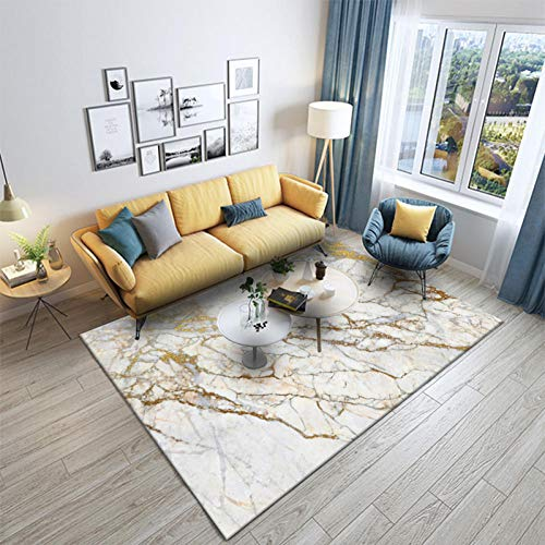 Outdoor-QJ Alfombra Moderna Grande Antideslizante Fácil de Limpiar Diseño Decoración del hogar Imitación de mármol Blanco Dorado 120×170CM(3ft11 x 5ft7)