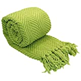 Home Soft Things Green Throw Blanket Knitted Tweed Throw 50'' x 60'', Dark Citron, Super Soft Cozy Warm Throw for Living Room Chair Couch Bed Sofa Bedroom Décor