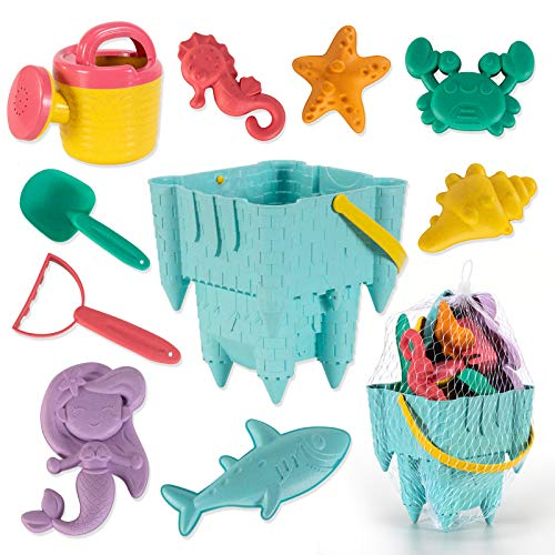 COMME HAN 10 Piece Kids Beach Toys, Eco-Friendly Sand Toys Set for Toddlers, Castle Mold Bucket, Shovel, Rake, Watering Can, and Animals Molds