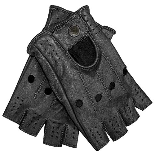 German Wear Driving Halbfinger Fingerlose Autofahrer-Handschuhe Lederhandschuhe, 7=S, Schwarz