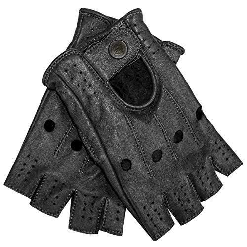 German Wear Driving Halbfinger Fingerlose Autofahrer-Handschuhe Lederhandschuhe, 10=XL, Schwarz