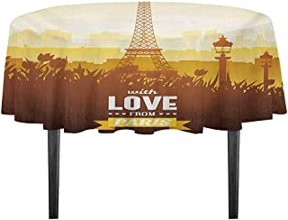 kangkaishi Paris Washable Tablecloth Eiffel Tower with Tulip and City Silhouette Nostalgic Town Floral Romantic Dinner Picnic Home Decor D51.18 Inch Orange Yellow Brown