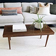 Nathan James Clyde Mid-Century Slatted Solid Wood Coffee Table, Rustic Mission-Style Bench for a Unique and Modern Living Room, Brown
