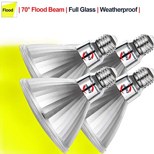 Explux PAR38 Yellow LED Flood Light Bulbs, Bug Light, Dimmable, Outdoor Weatherproof, 120W Equivalent, 4-Pack