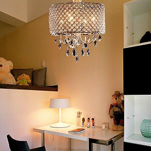 Oofay Light, elegante e moderno lampadario a 4 lampade, con gocce di cristallo, per soggiorno, sala da pranzo e camera da letto