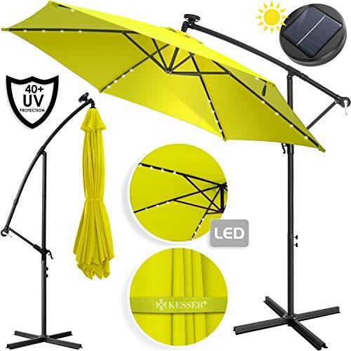Kesser® Alu Ampelschirm LED Solar Ø350cm + Abdeckung mit Kurbelvorrichtung UV-Schutz Aluminium mit An-/Ausschalter Wasserabweisend - Sonnenschirm Schirm Gartenschirm Marktschirm Gelb