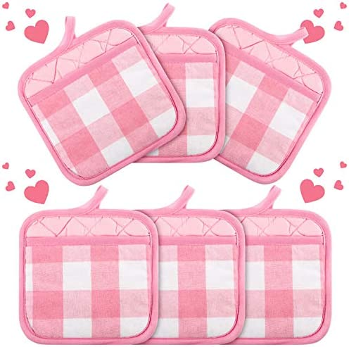 St Patrick s Valentine s Day Buffalo Check Pot Holders with Pocket Cotton Hot Pad Plaid Cloth product image