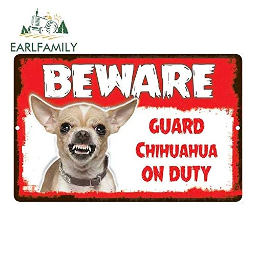 FAFPAY Car sticker 13cm x 8.5cm Car Sticker Care Guard Chihuahua Dog on Duty Novelty Aluminum Metal Sign CarStyle A