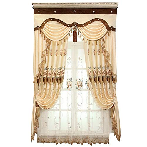 yizheng European Style Living Room 3D Embroidered Curtain Fabric Finished Product, Bedroom Balcony warm Blackout Curtain