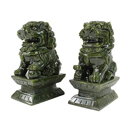 LINGS EIN Paar Green Stone Guardian-Statuen, Peking-Löwenpaar Fu FOO Dogs, chinesisches Feng Shui-Dekor für Haus und Büro, Wohlstand und viel Glück, Vier Größen,Large