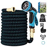 Duerer Expandable Garden Hose, 50ft Water Hose with 10 Function Spray Nozzle, 3/4' Solid Brass Fittings & Hose Holder, Leak-proof Lightweight Retractable Extra Strength Durable Car Wash Hose Pipe