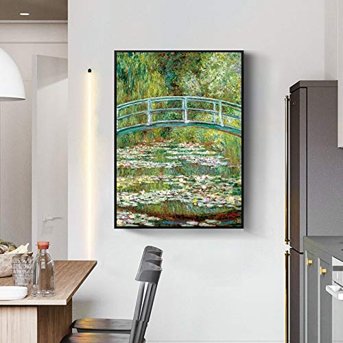 No frame KUNST Claude Monet waterlelies foto's reproductie canvas schilderij kunst aan de muur voor woonkamer woondecoratie 40x60cm