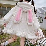 Yunbai Lolita Vestido japonés otoño Invierno Mujeres Dulce Chaqueta Caliente Kawaii Suave Lambswool Volantes Conejo Orejas Capucha Abrigos niñas Parkas Outwear (Color : White, Size : Large)