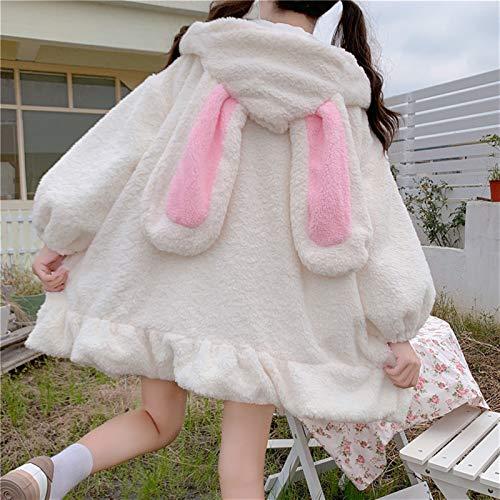 Yunbai Lolita Vestido Estilo Japonés Otoño Invierno Mujeres Dulce Cálido Chaqueta Kawaii Suave Cordero Ruffles Conejo Orejas con Capucha Abrigos Niñas Parkas Outwear, blanco, S-M