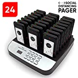 NOLAS 24 Social Distancing Buzzer Pager Alert Restaurant Coaster Pagers/Guest Lineup Waiting Pager/Paging System for Restaurants (Available in 10/16/24/32/48/72/96/108 Count) (24 Pager-System)