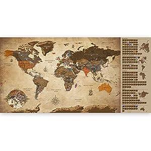 murando Mapamundi para rascar Mapa Mundial 100x50 cm Vintage Laminado (Posibilidad de Escribir y borrar) Mapa para rascar con Banderas Mapa del Mundo Macionales k-A-0228-o-b