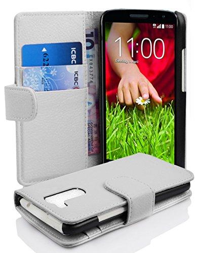 Cadorabo Hülle für LG G2 Mini in Magnesium WEIß – Handyhülle aus Strukturiertem Kunstleder mit Standfunktion & Kartenfach – Hülle Cover Schutzhülle Etui Tasche Book Klapp Style