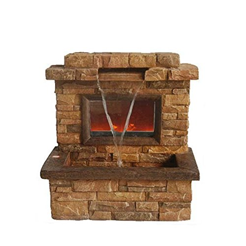Northlight 24.75' Tawny and Umber Brown Faux Stone Fireplace Waterfall Outdoor Patio Garden Water Fountain