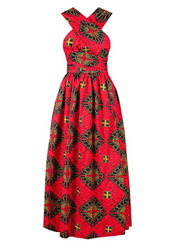 Vimoisa Women Sexy Boho African Dress Long Maxi Dress V-Neck Multi-Way Dress Pleated Dress Floral Print