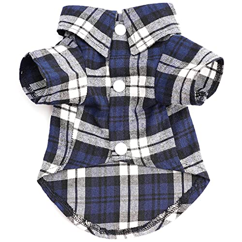 HOODDEAL Dog Shirts Striped Casual Dog Polo Plaid Clothes Breathable Stretchy Puppy T-Shirts Cat Tee for Small Dogs Boy Girl (S, Blue)