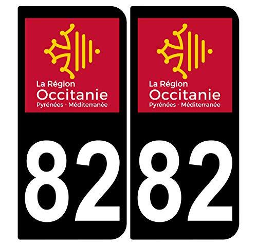 Supstick 2 stickers, zelfklevend, nummerborden, voor auto, Dept 82 ottomane, zwart, afgeronde hoeken