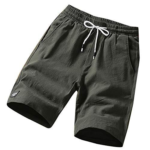 Preisvergleich Produktbild Mengyu Herren Casual Leinen Shorts Gemütliche Elastische Taille Kordelzug Shorts Half Pant Armee-Grün 3XL