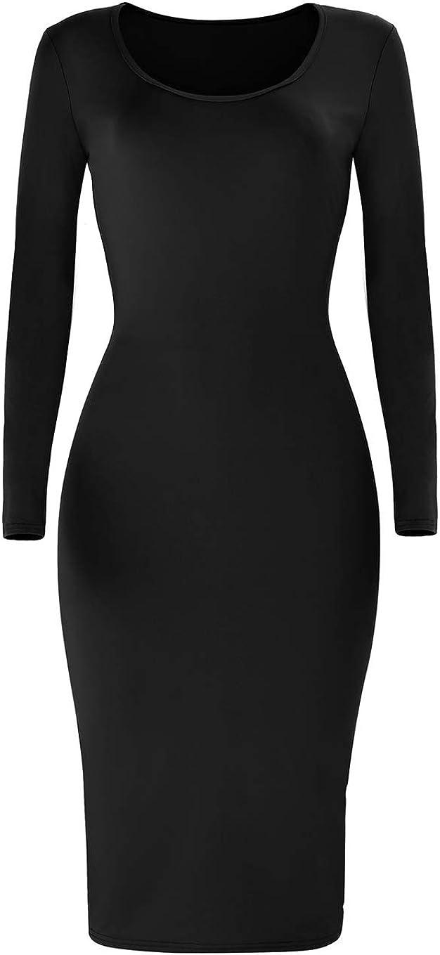 Cmprvgd Women's Open Back Long Sleeve Bodycon Party Midi Dresses