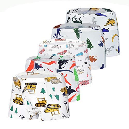 Toddler 100% Cotton Little Boys Briefs Soft Dinosaur Truck Training Underwear Shorts 5 Pack 6-7 Years