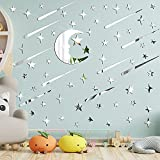 216 Pieces 3D Acrylic Mirror Wall Decal Stickers Mirror Stickers for Mirrors Moon Stars Wall Decal Silver Mirror Sticker Decors Removable Decor for Ceiling Kids Bedding Room Party Birthday Present
