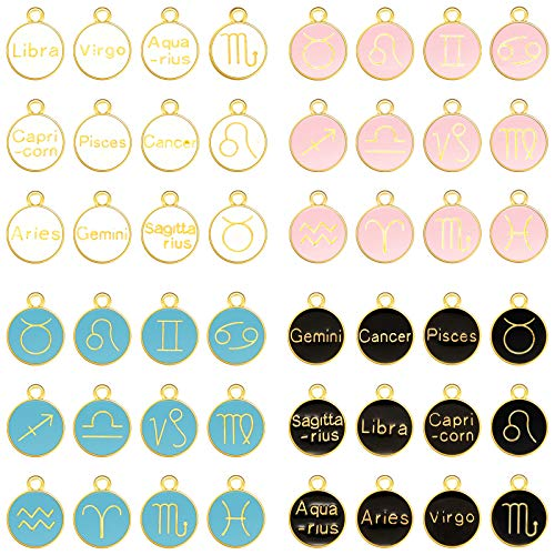 48 Pieces Zodiac Charm Round Enamel Metal Charm Double Sided Charm 12 Charm Pendant for Bracelet Earring Necklace Jewelry Making (Black, White, Pink, Blue,0.59 x 0.47 Inch)